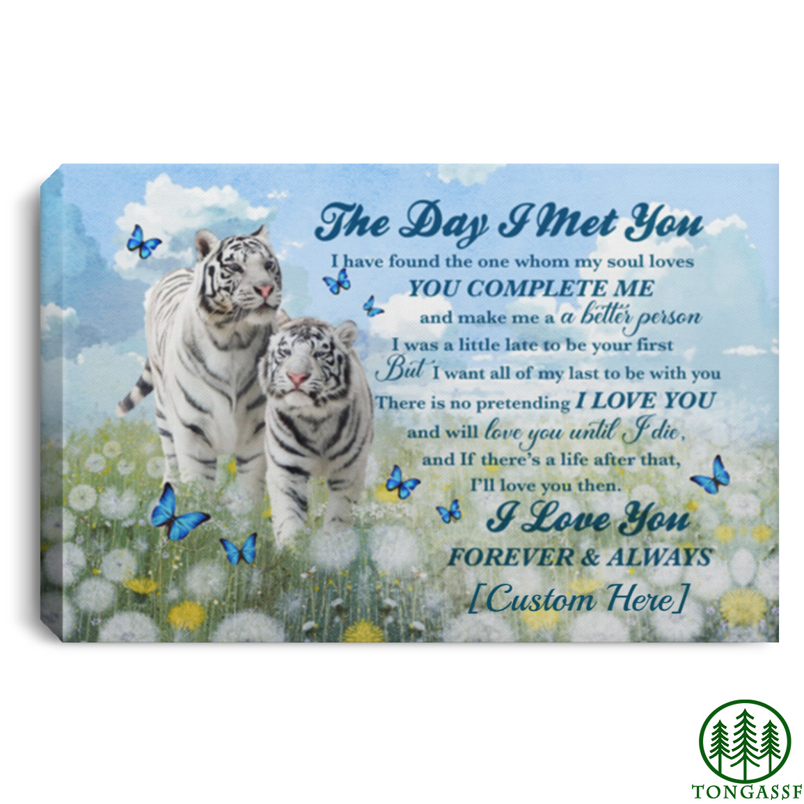 Personalized white tiger couple in dandelion canvas
