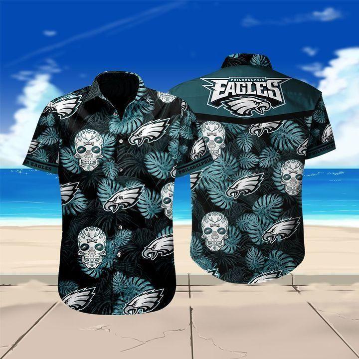 Philadelphia Eagles Skull Football Hawaiian Shirt