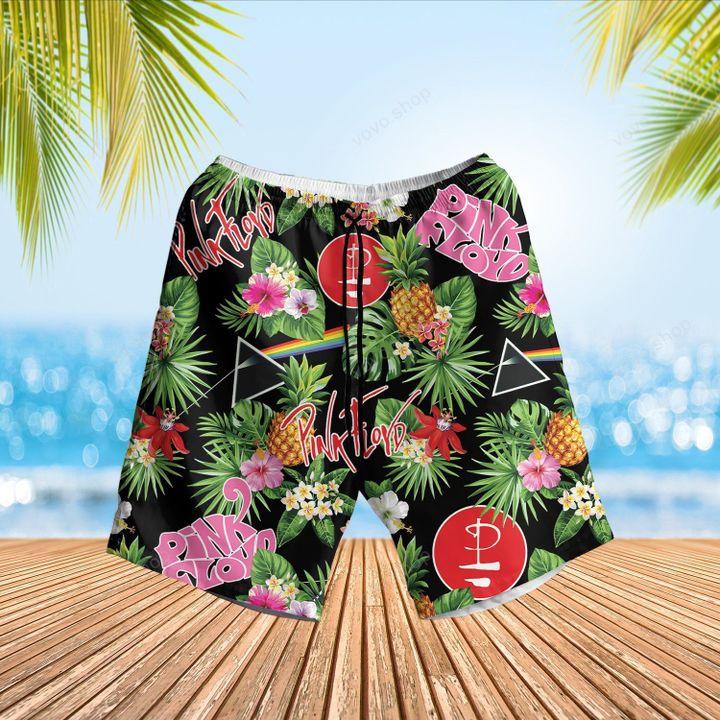 Pink Floyd Band Tropical Flower Hawaiian Shirt and Beach Shorts