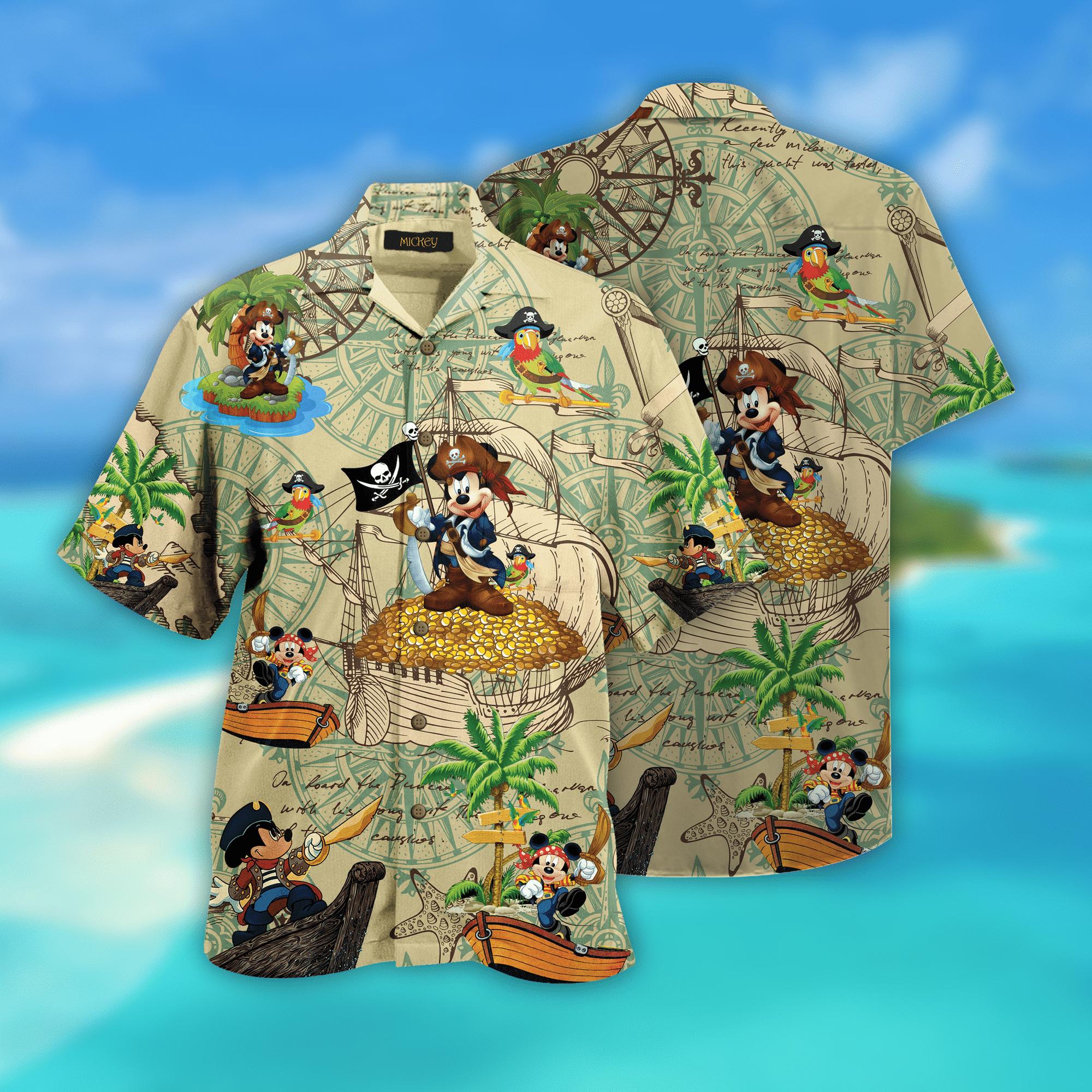 Pirate Mickey Mouse Hawaiian Shirt
