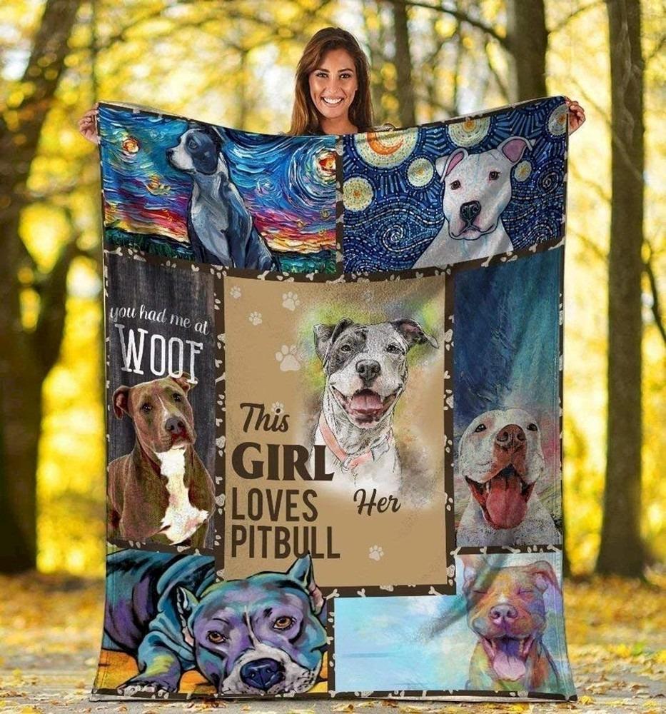 Pit Bull Terrier Fleece blanket Lover Gift