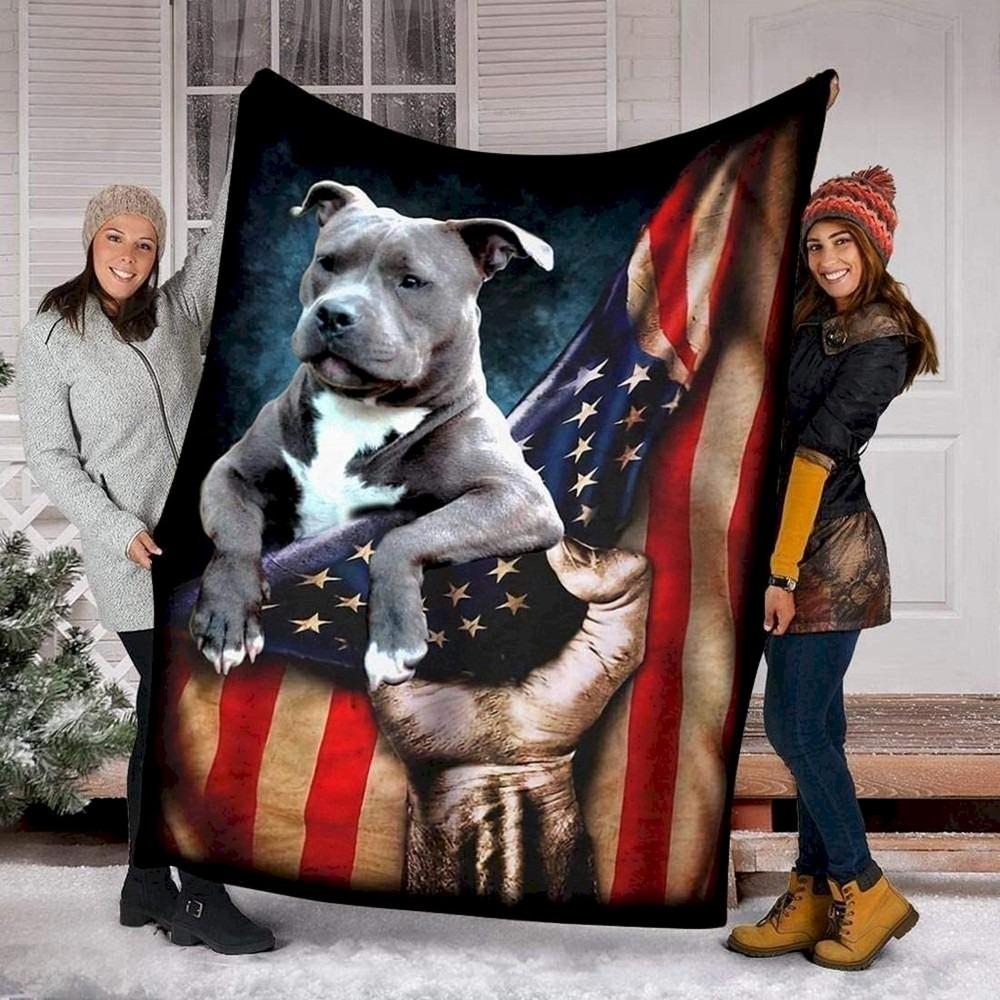 Pitbull Dog USA Flag Blanket