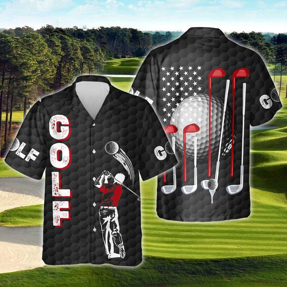 Playing Golf Golfer American Hawaiian Shirt