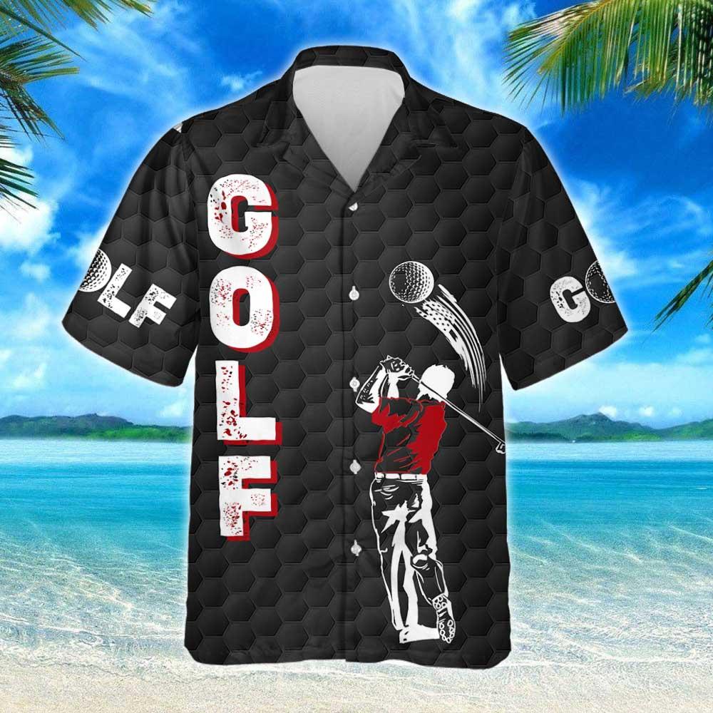 Playing Golf Golfer American Hawaiian Shirt 2