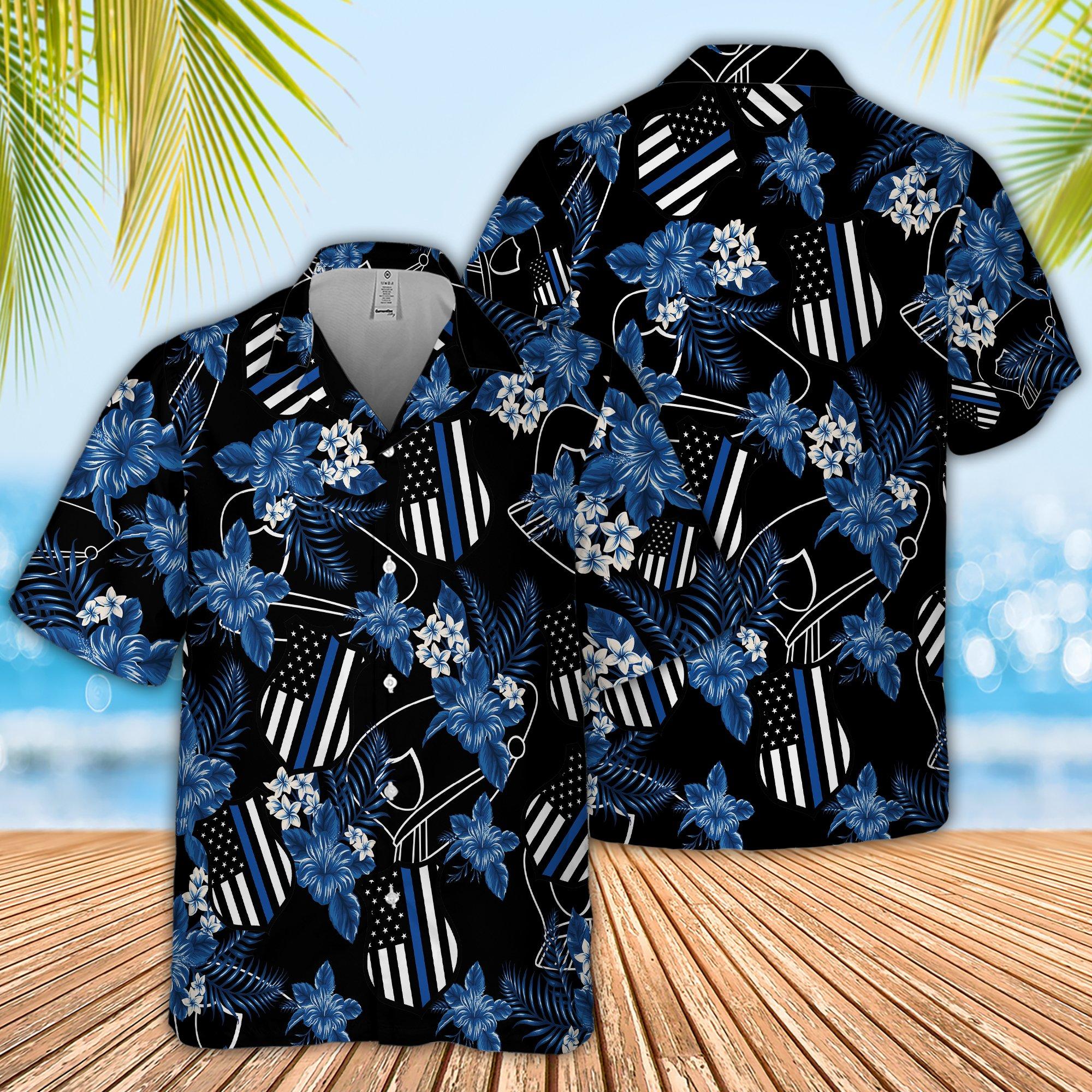 Police Seamless Pattern Hawaiian Shirt 2