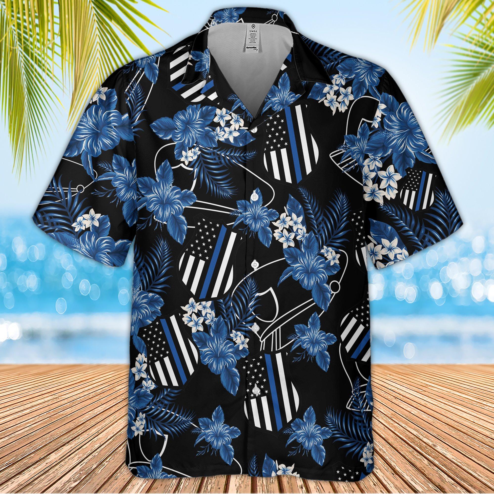 Police Seamless Pattern Hawaiian Shirt