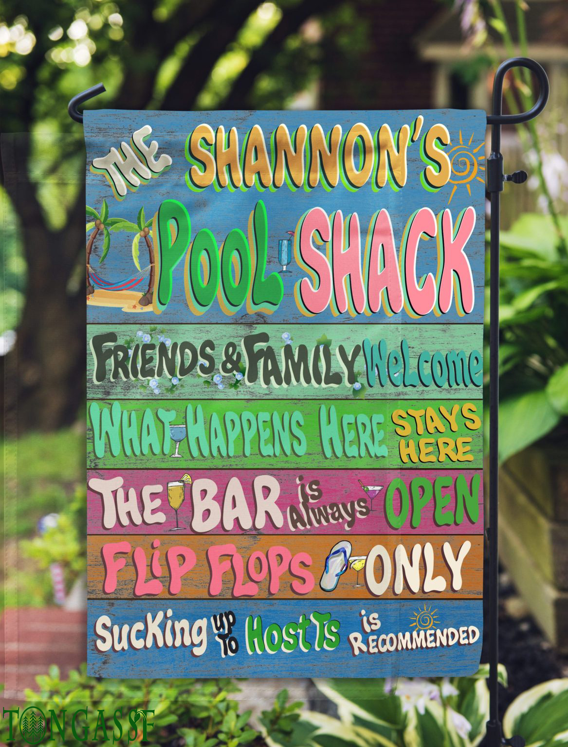 Personalized Pool shack party Summer flag