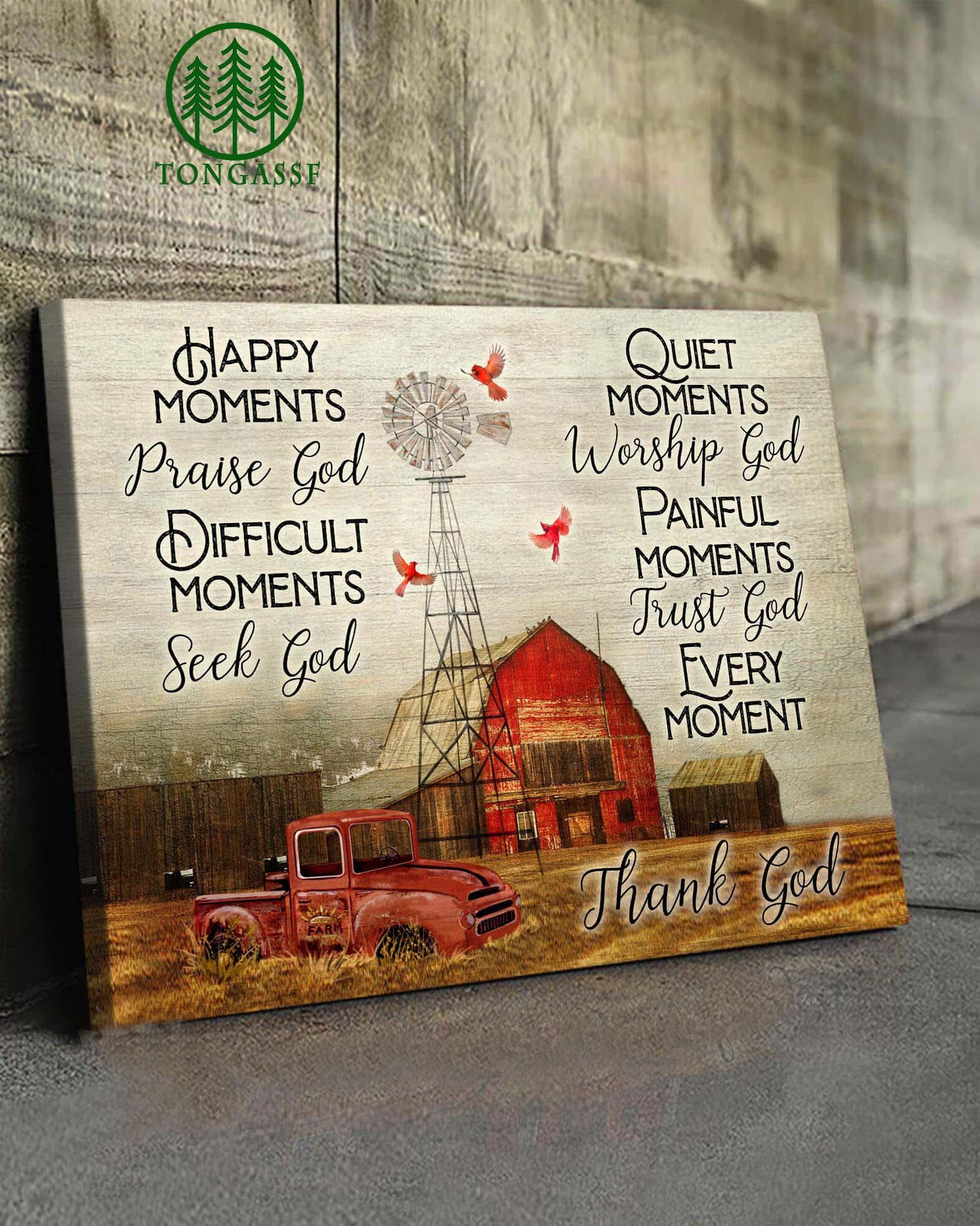 Praise God Seek God Worship God Trust God Thank God Wrapped Canvas Prints