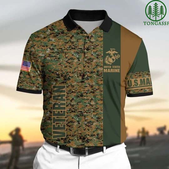 Premium US Marine 3D Polo All Over Printed