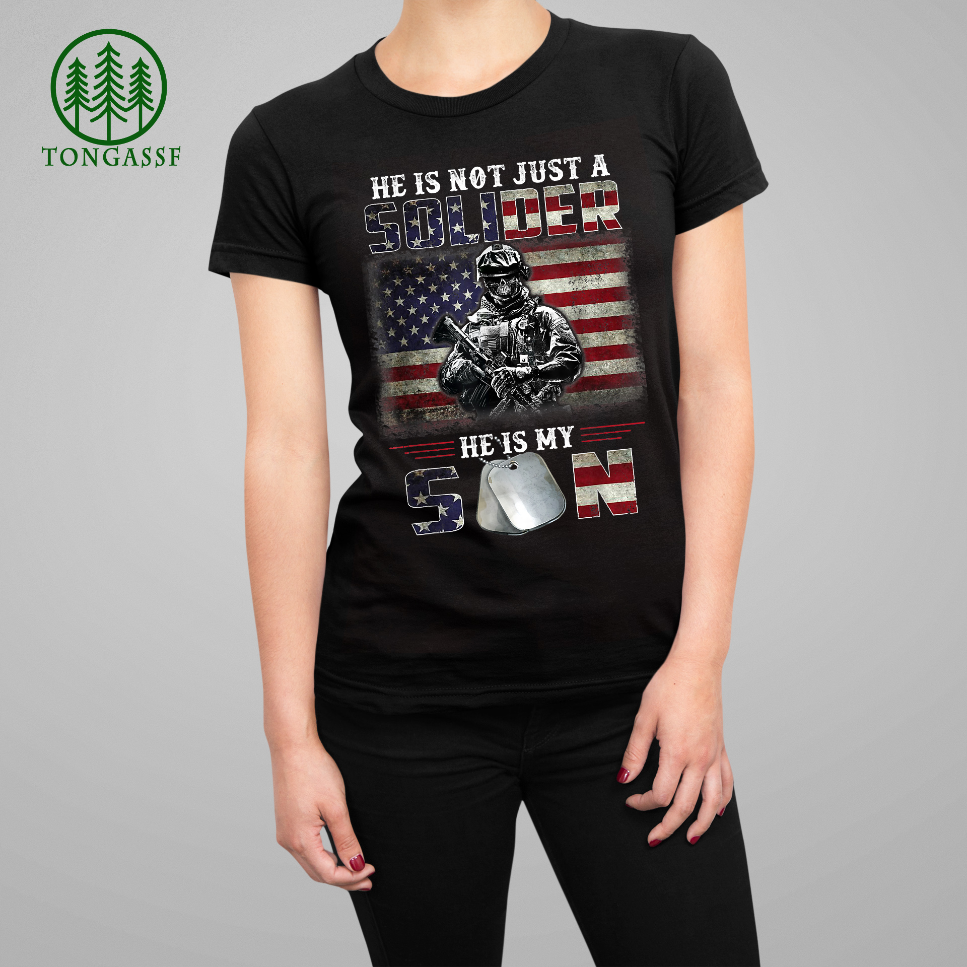 Proud Soldier Army Parents Mom Dad He Is My Son Flag T Shirt