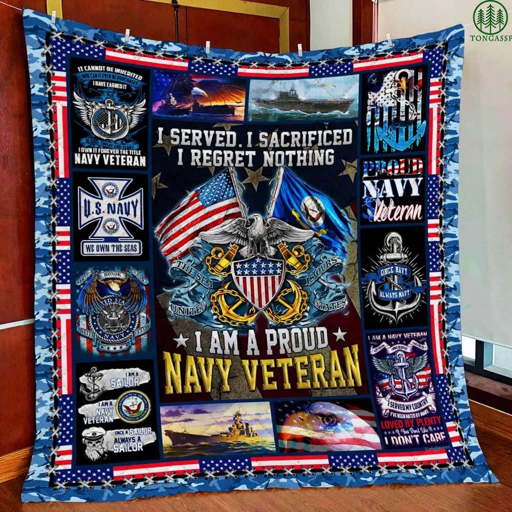 Proud US Navy Veteran Quilt Blanket