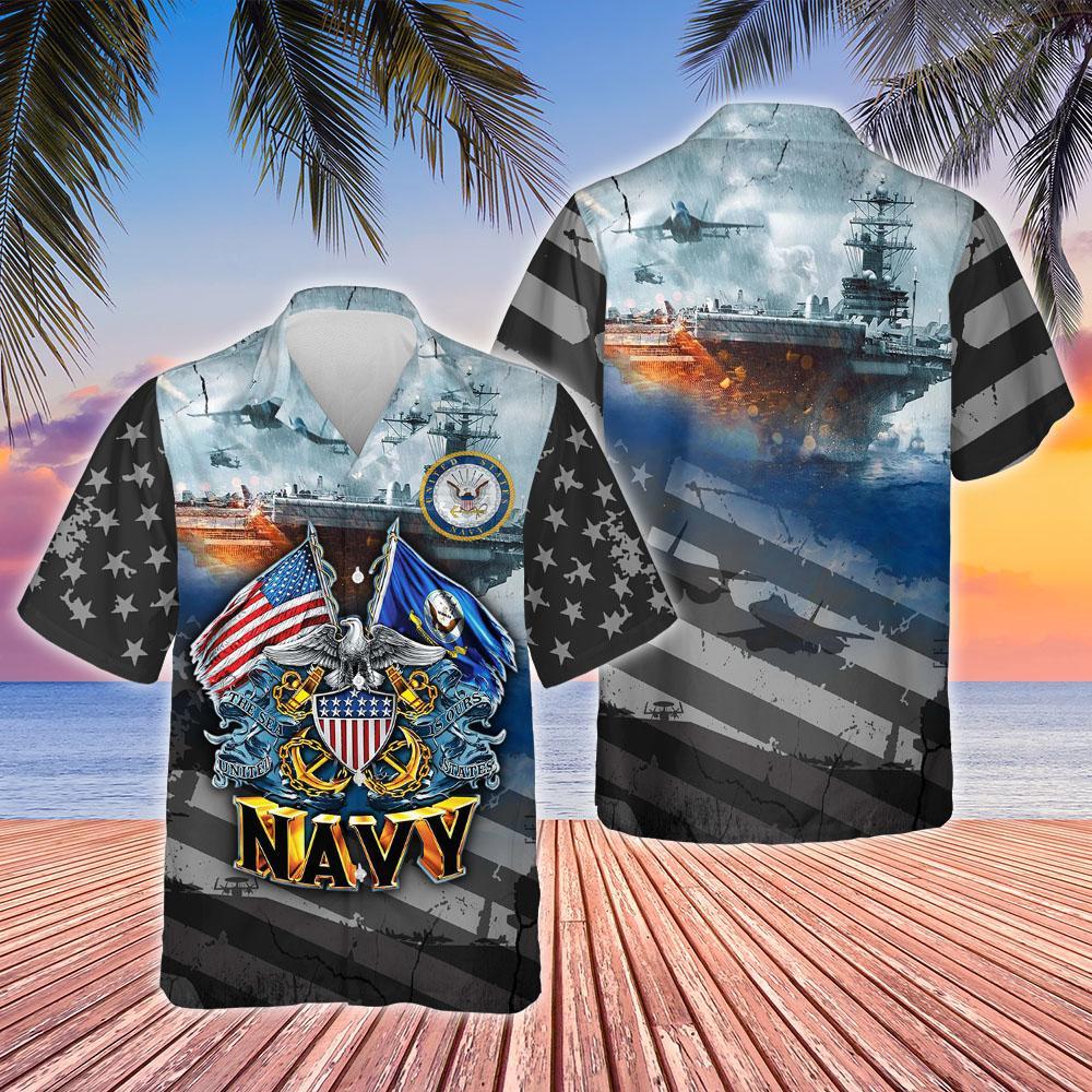 Proudly Served United States Navy Hawaiian Shirt