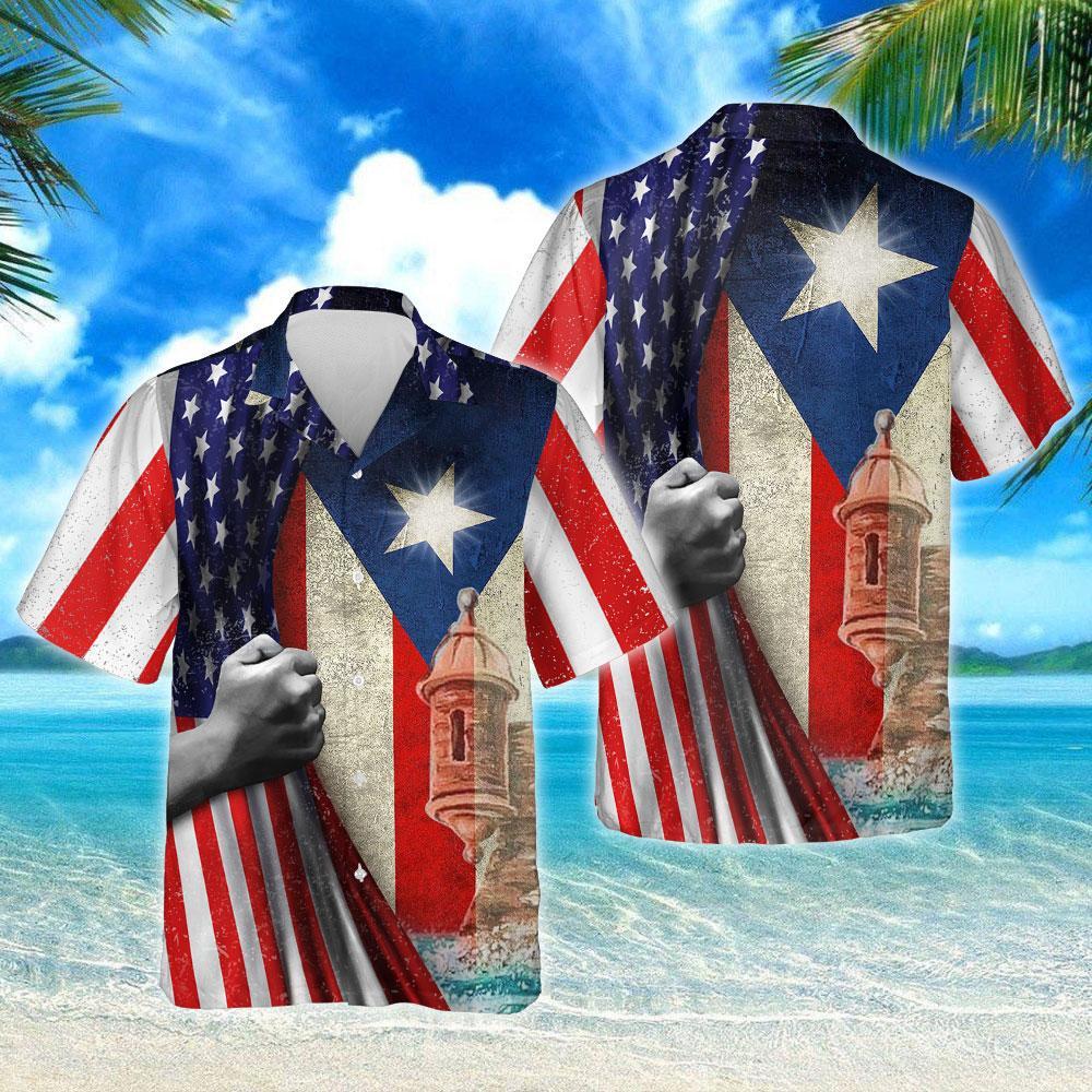 Puerto Rican American Hawaiian Shirt