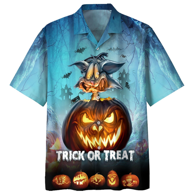 Hallloween Rabbit Trick or Treat angry pumpkin Hawaiian Shirt and Short