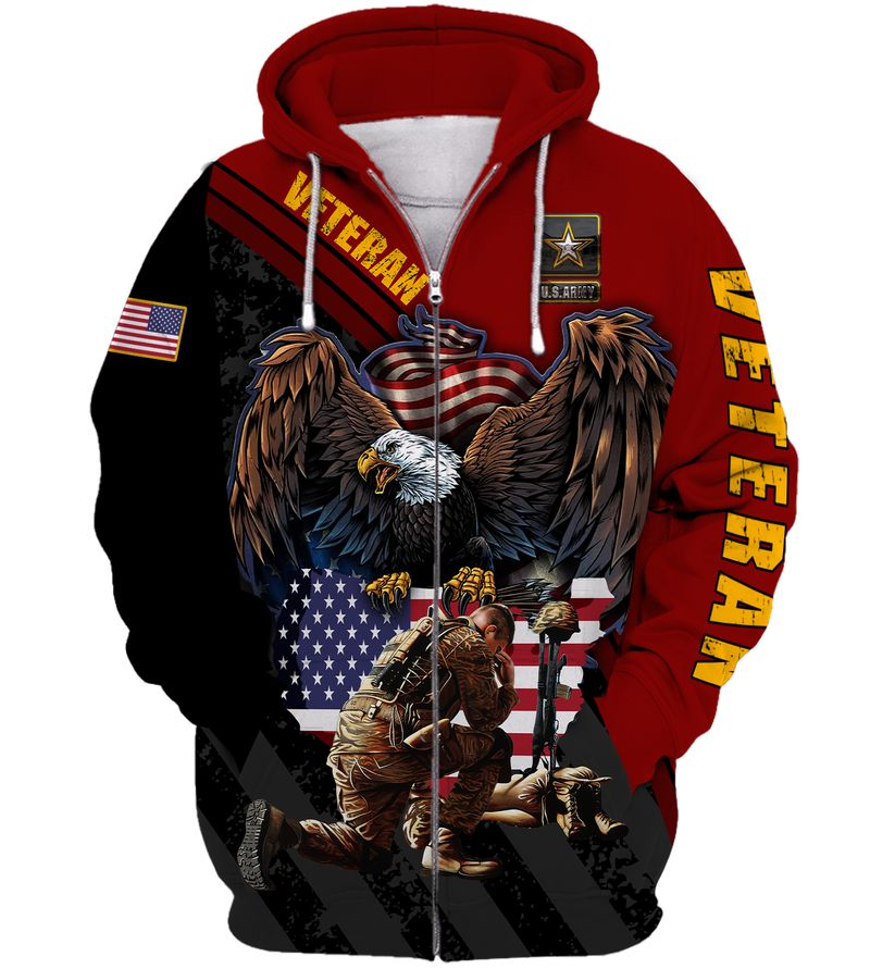 ARMY VETERAN Eagle Soldier Red Black 3D shirt