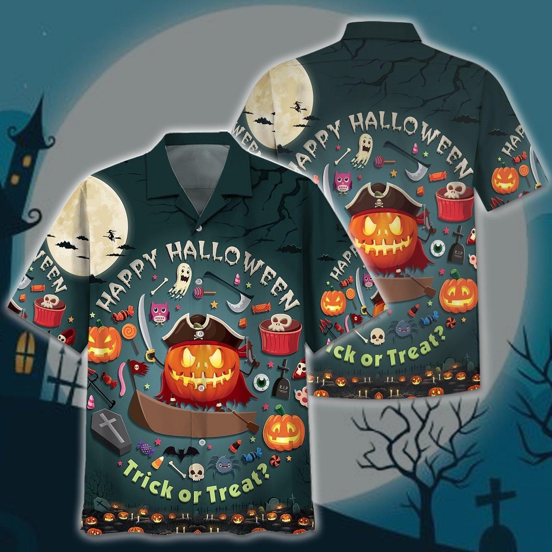 Pumpkin Pirates Trick or Treat Hallloween Hawaiian Shirt and T Shirt