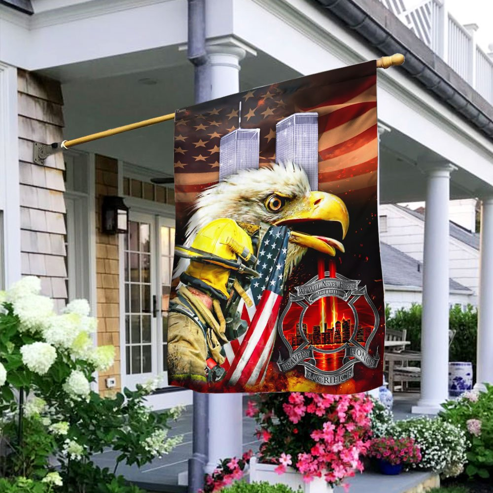 We Will Never Forget 9-11-2001 Firefighters Flag