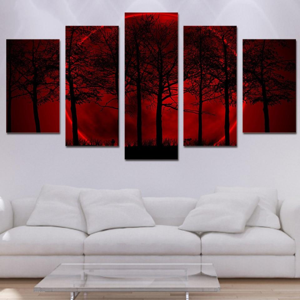 Red Moon Forest 5 Piece HD Multi Panel Canvas Wall Art
