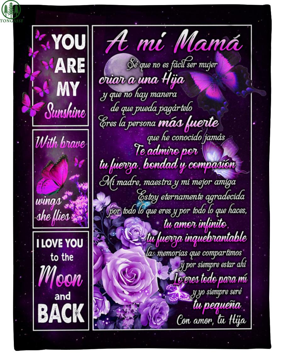 Regalo especial para mamá Purple flower butterfly Fleece Blanket