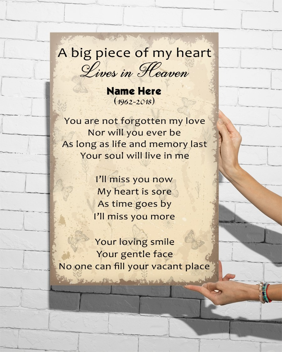 Remember Love My Heart Lives in Heaven Custom Poster