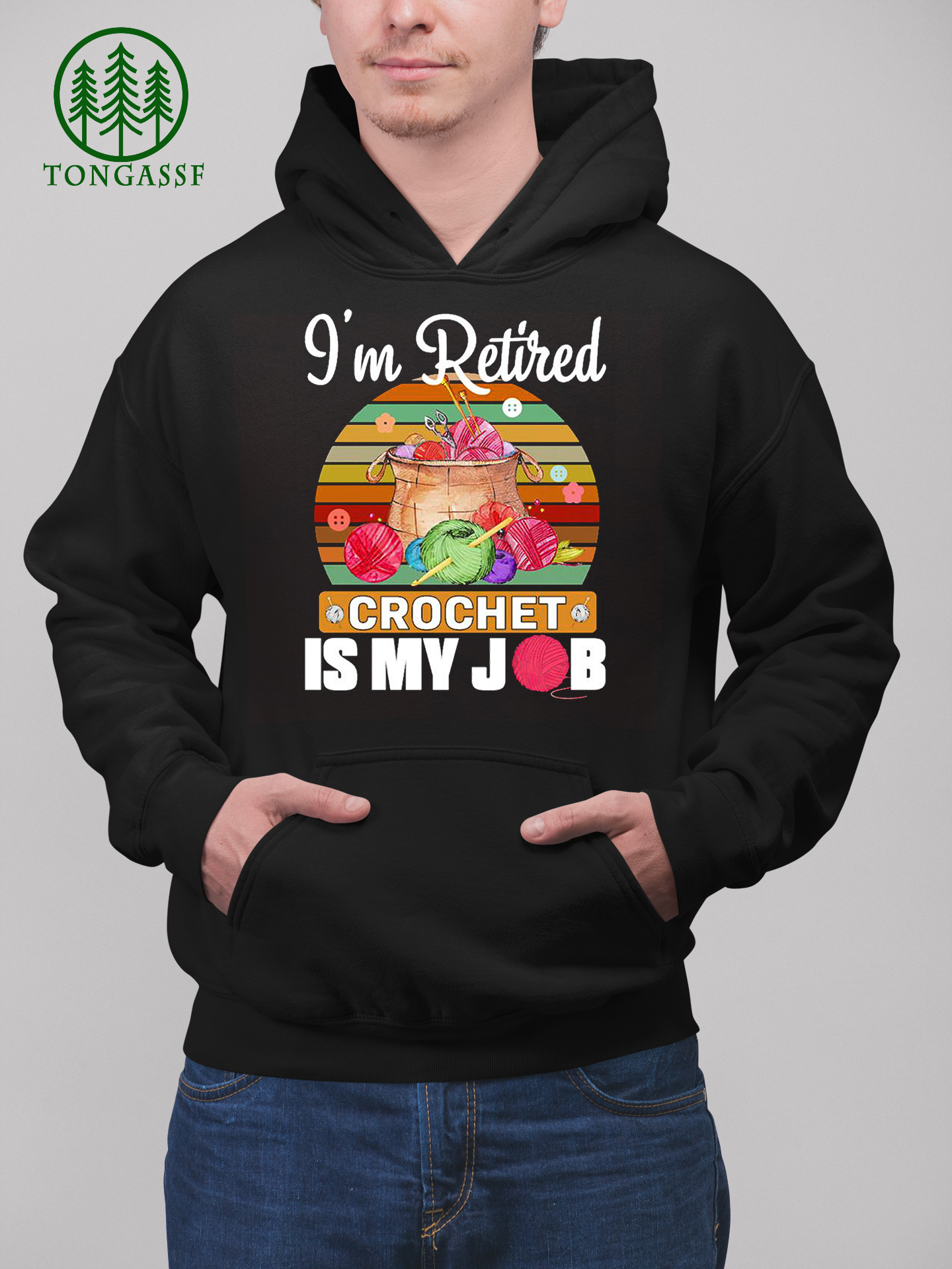 Retired crochet Is my job vintage colorful shirt