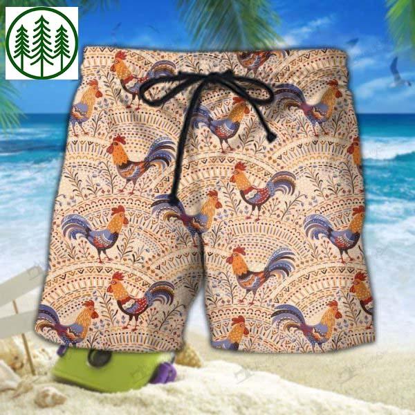 Rooster in Native Pattern Hawaiian shirt