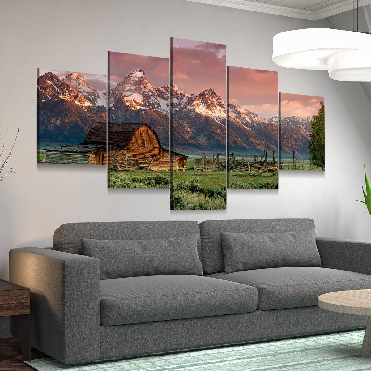 Barn In Grand Teton National Park 5 panel canvas wall art