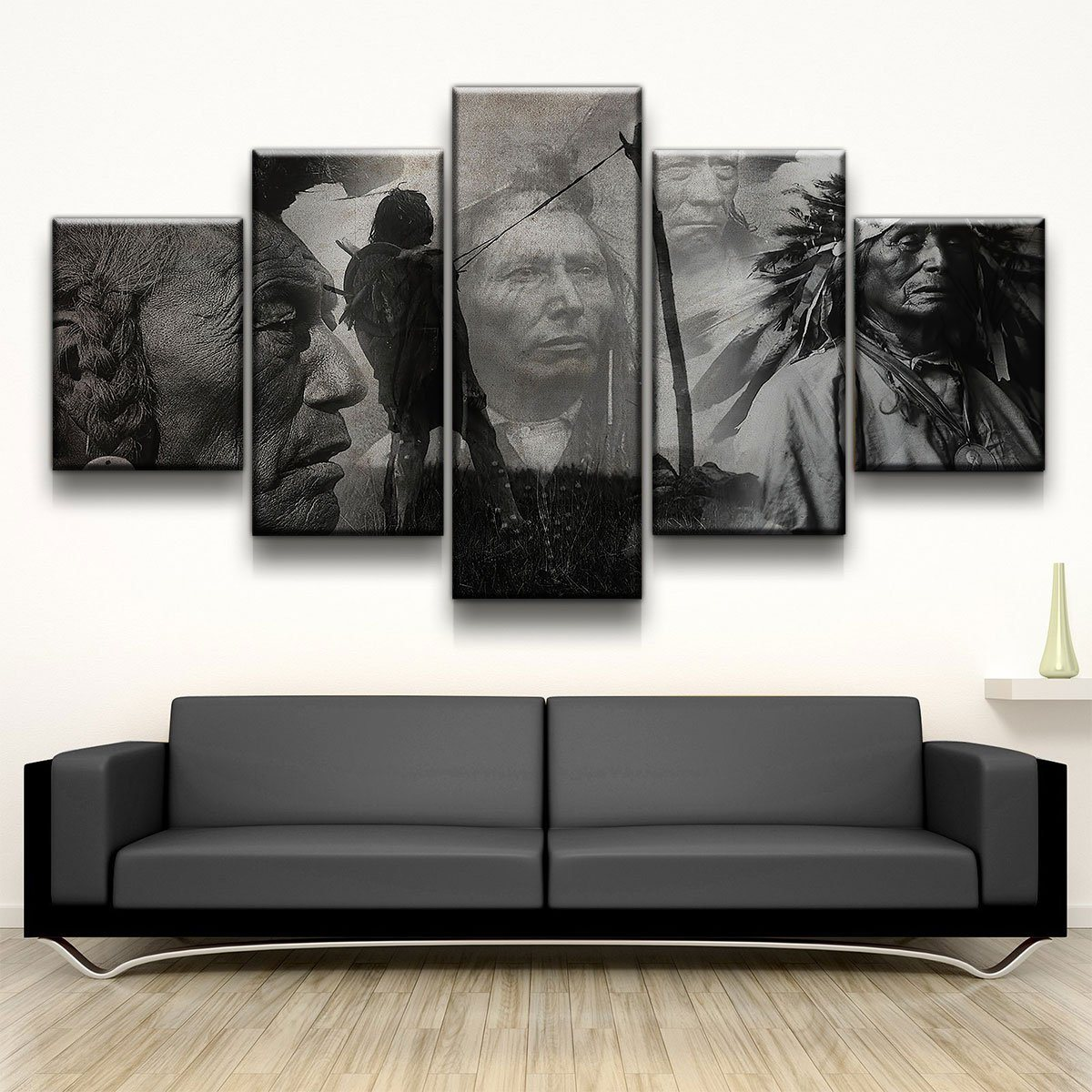 BW Native American 5 panel canvas wall art