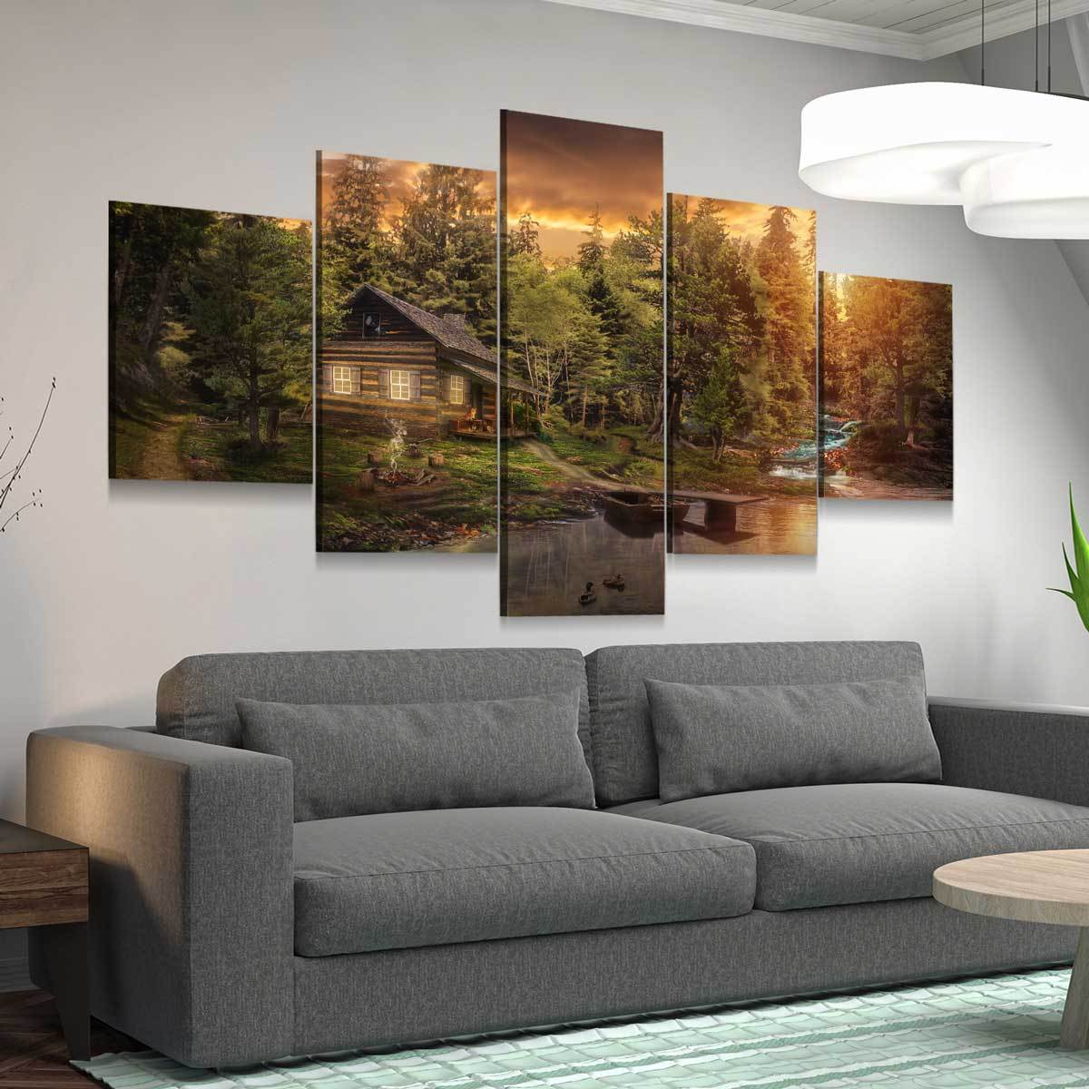 Cabin In The Woods 5 panel canvas wall art