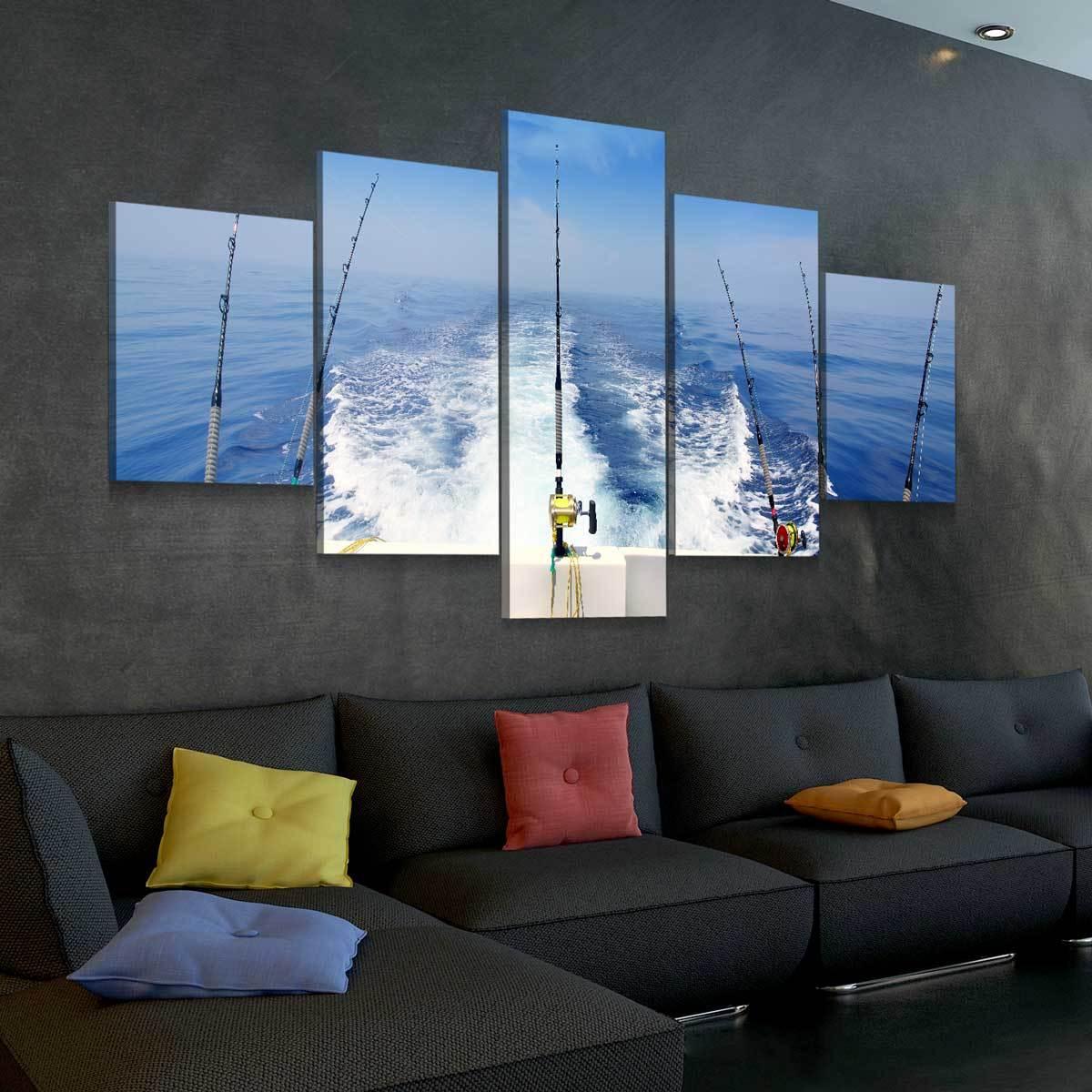 Deep Sea Fishing 5 panel canvas wall art