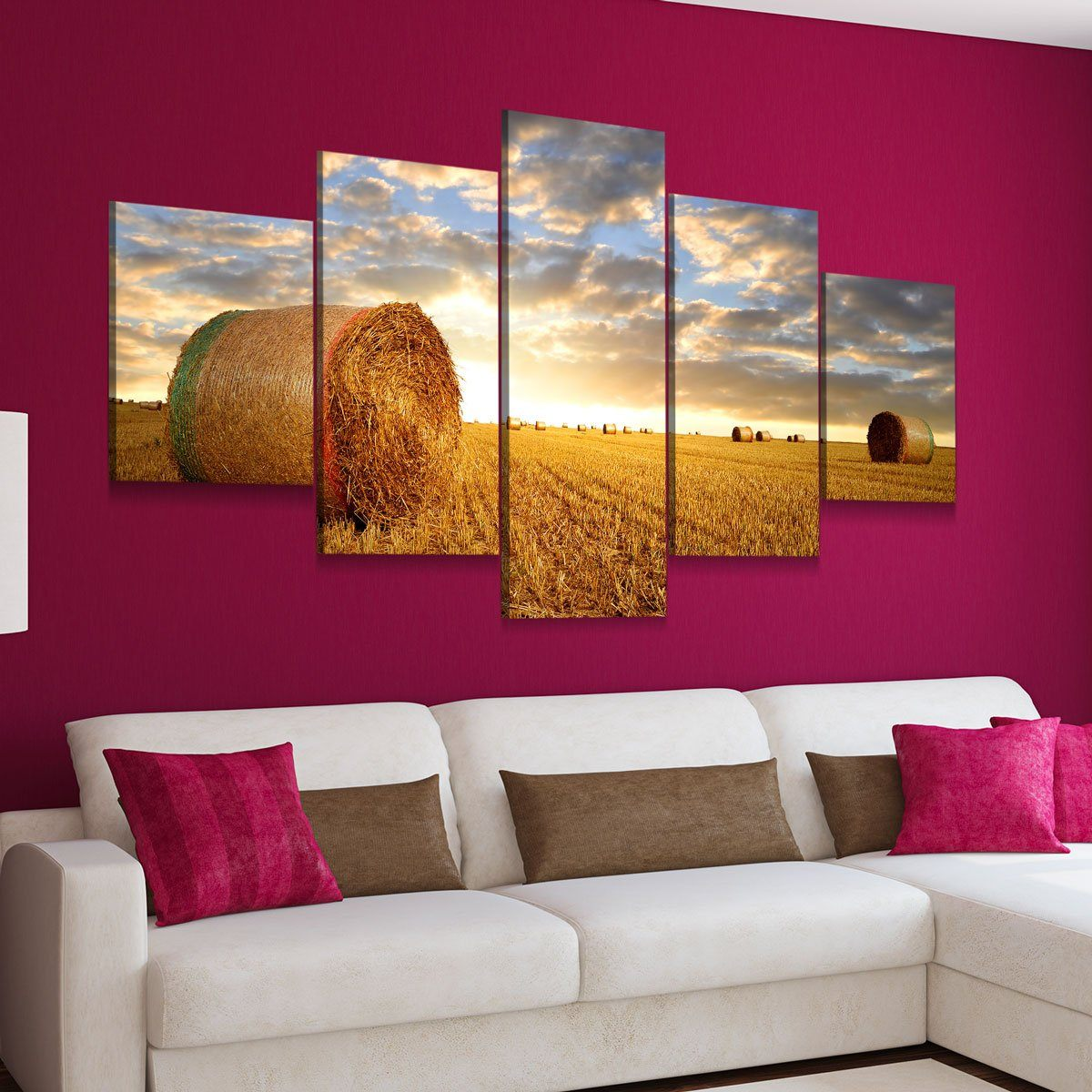 Farming Fields 5 panel canvas wall art