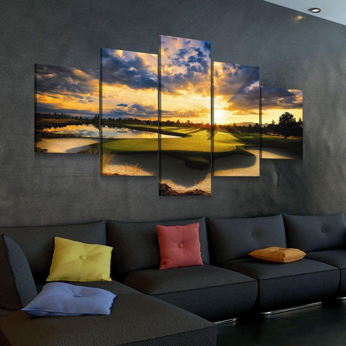 Golf Course Sunrise 5 panel canvas wall art