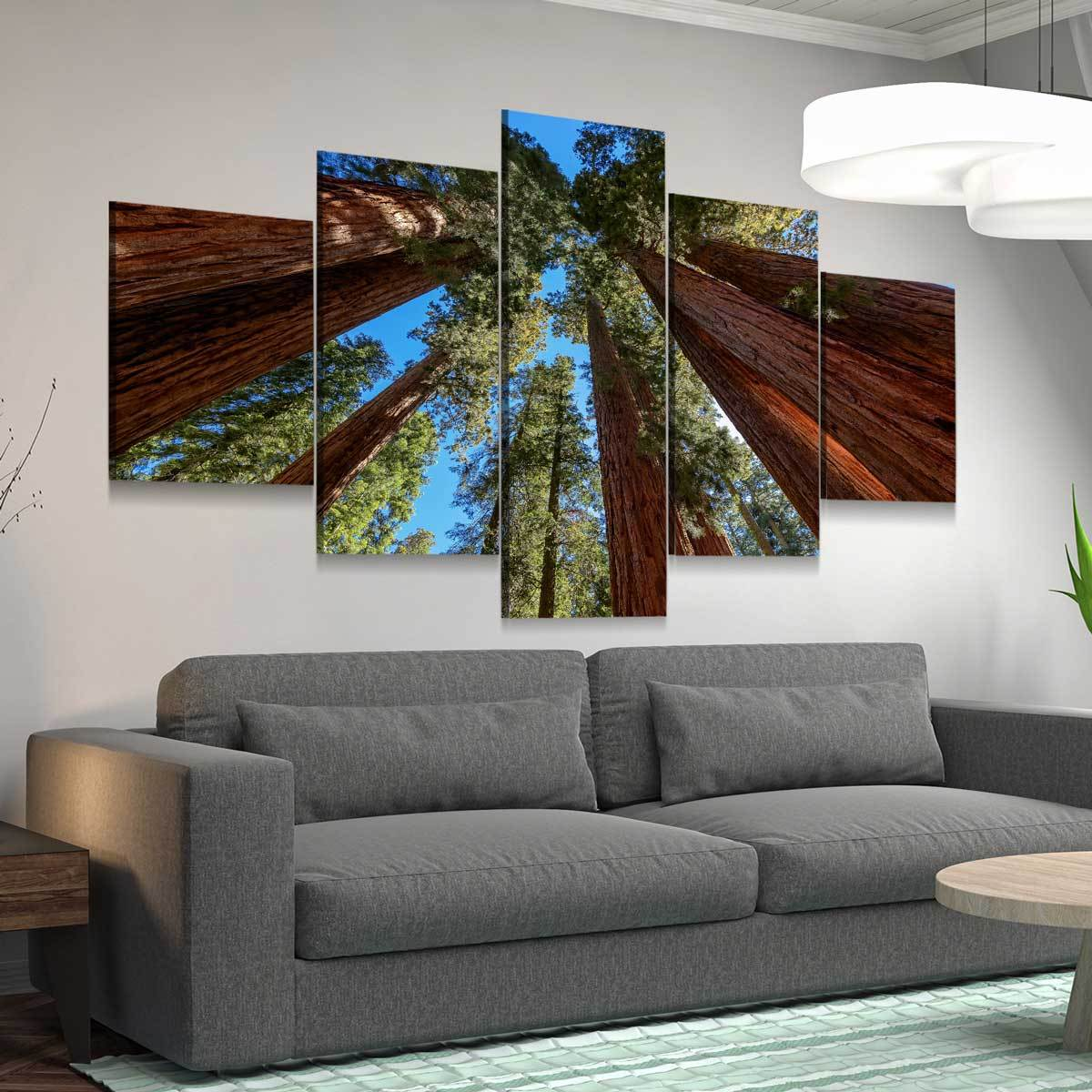 Giant Sequoia Trees 5 panel canvas wall art