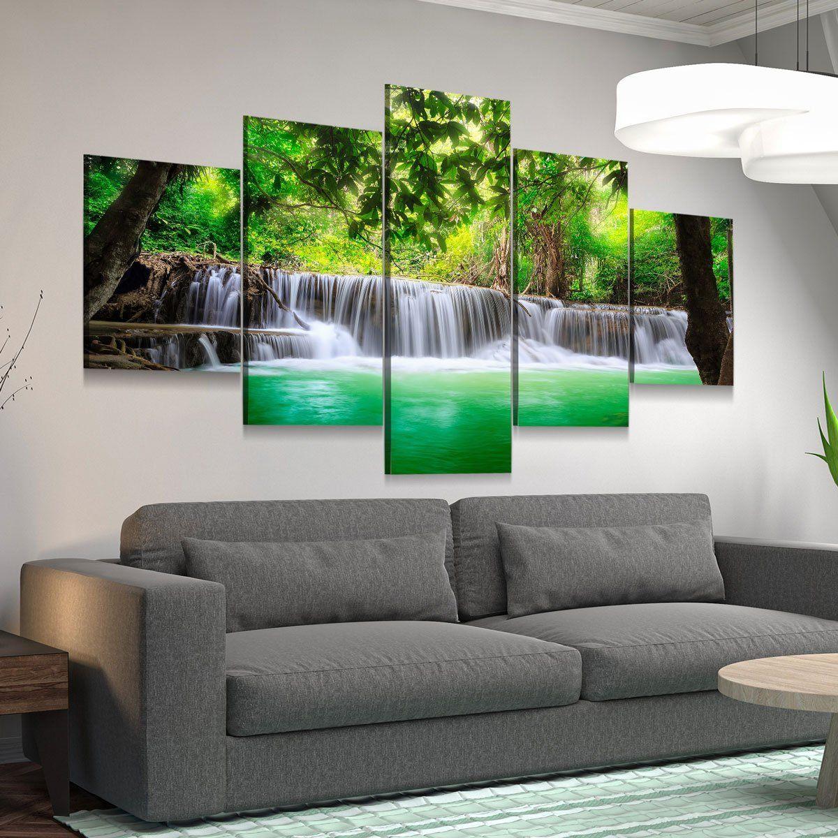 Green Tropical Waterfall 5 panel canvas wall art