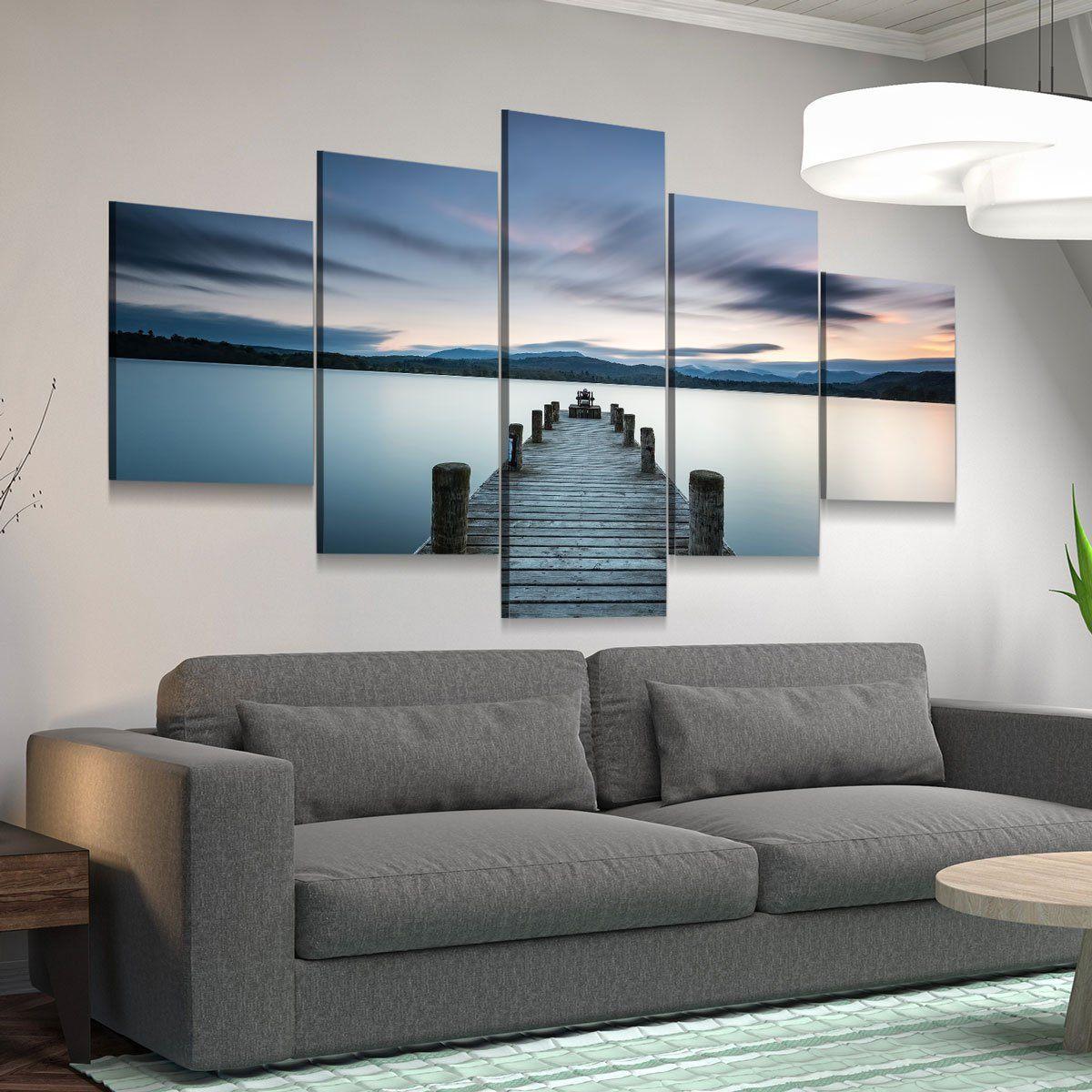 Lake Pier At Dusk 5 panel canvas wall art