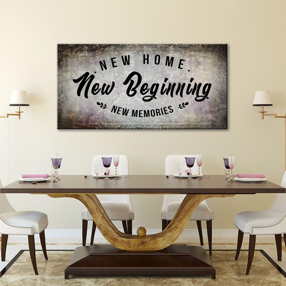New Home New Beginning New Memories 5 panel canvas wall art