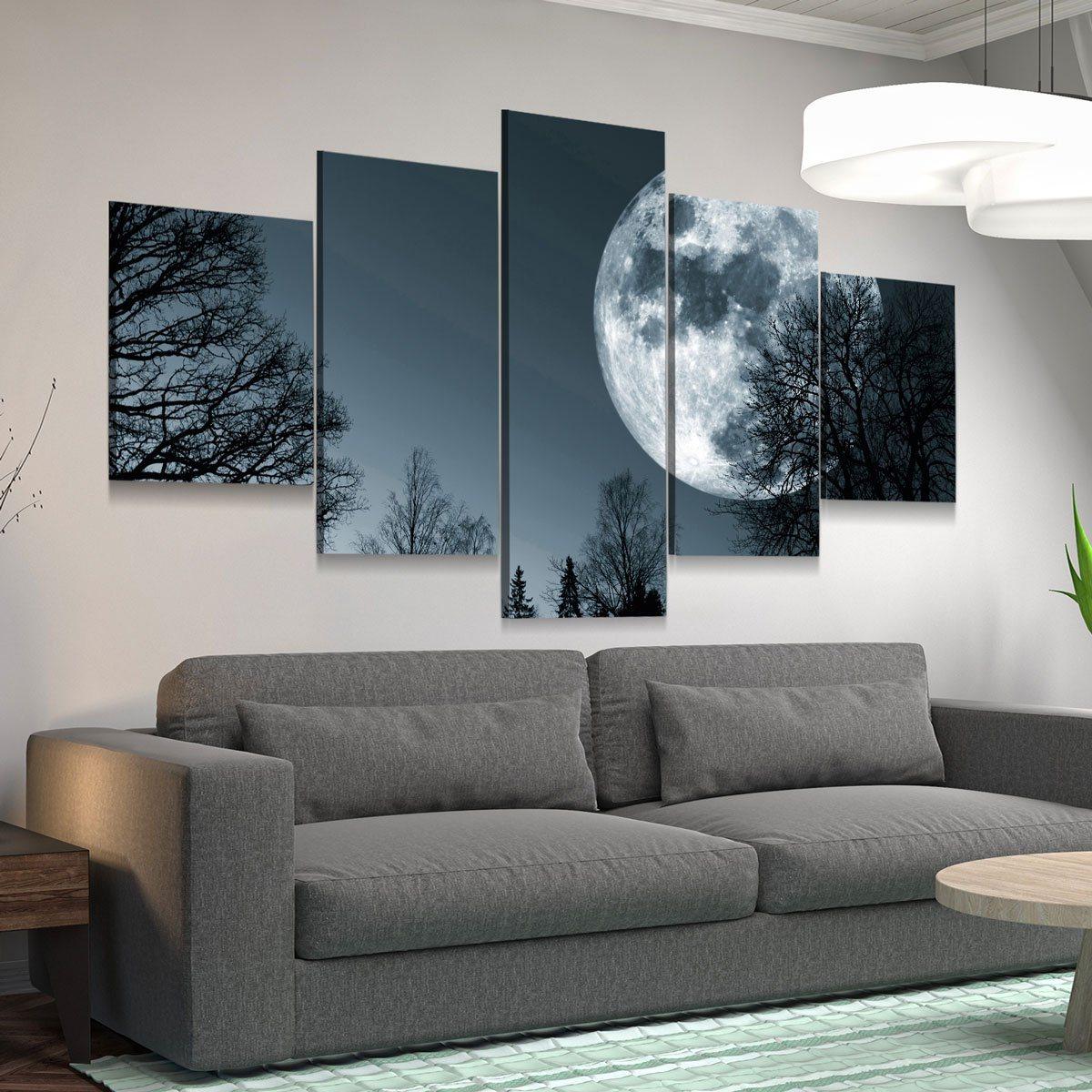 Super Moon 5 panel canvas wall art