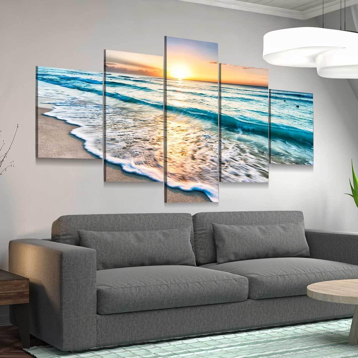 Sunrise Over Cancun Beach 5 panel canvas wall art