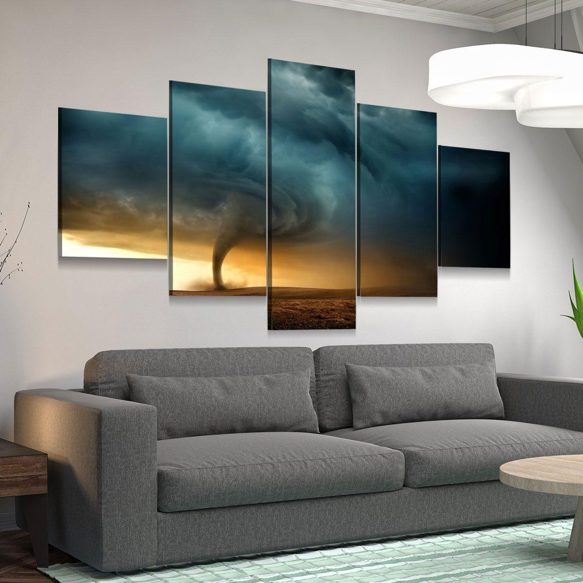 Tornado 5 panel canvas wall art