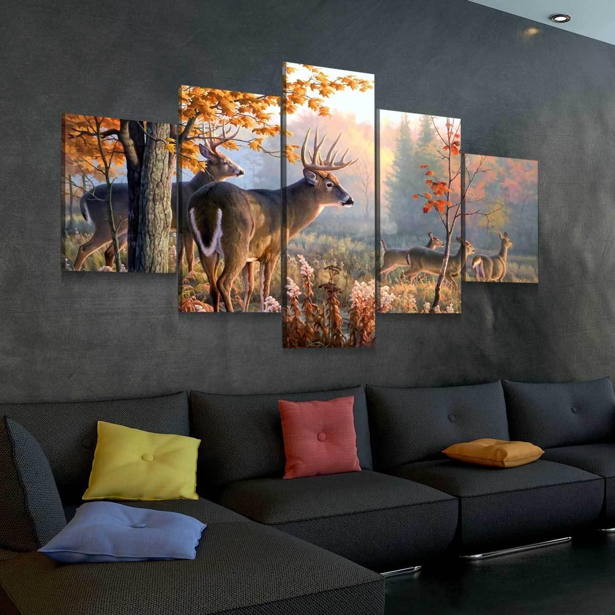 Whitetail Deer 5 panel canvas wall art