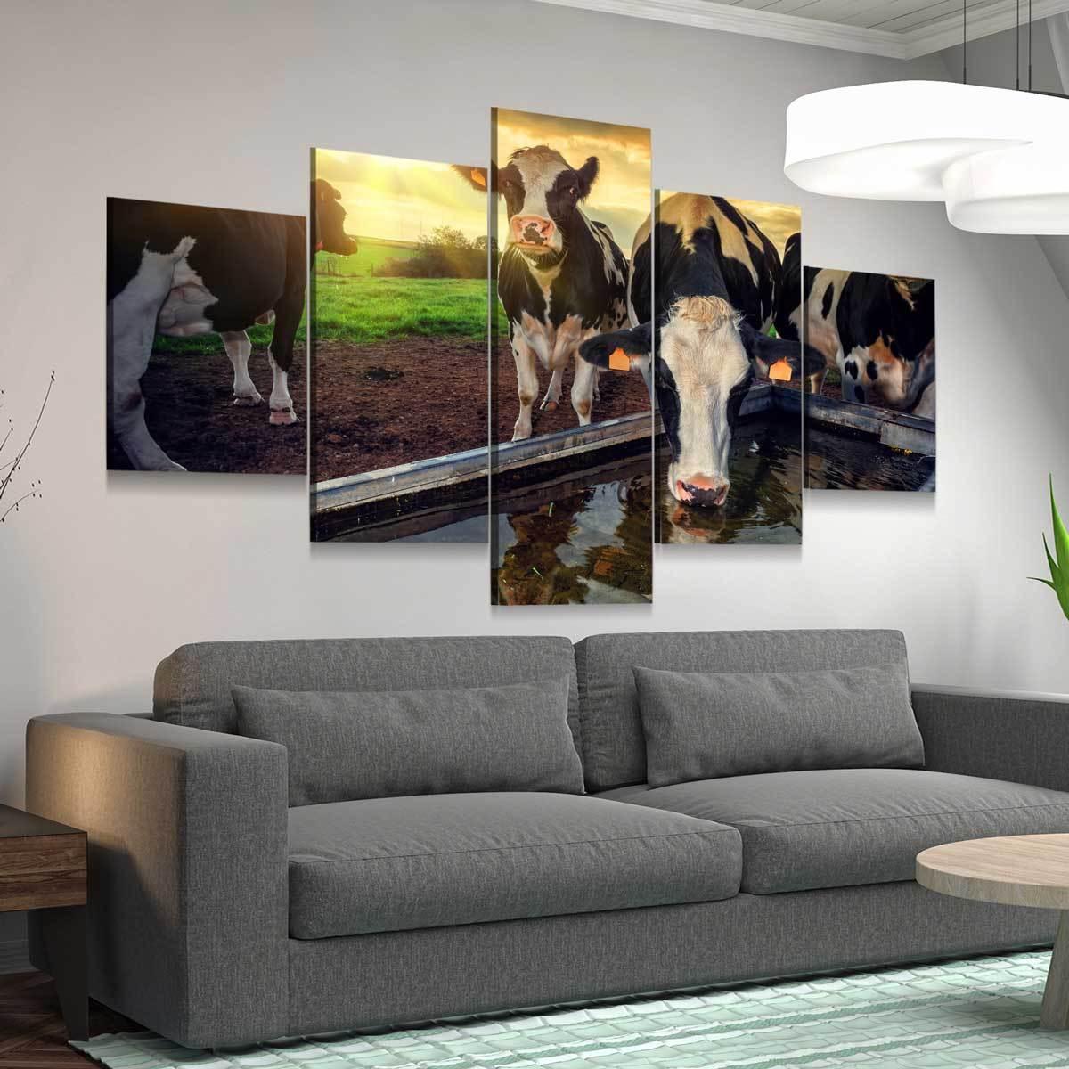 Young Calves 5 panel canvas wall art