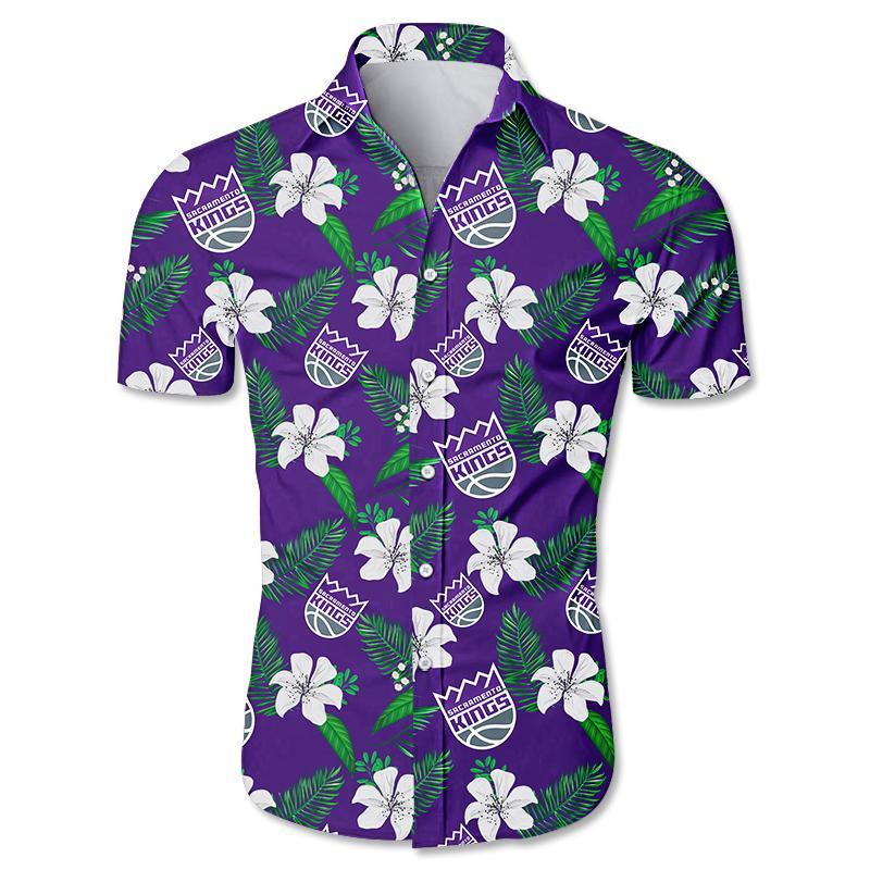 NBA Sacramento Kings Hawaiian Shirt Small Flowers