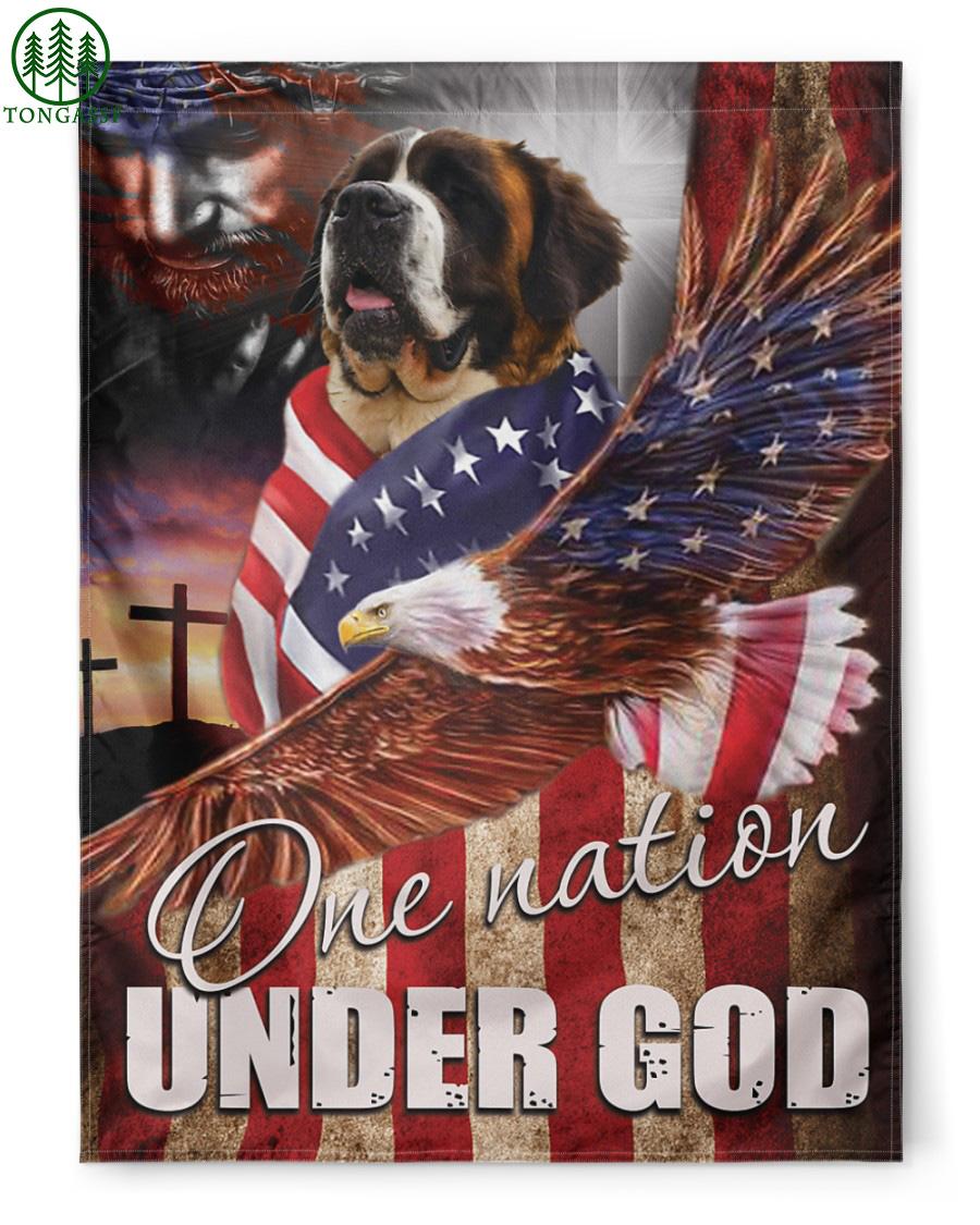 Saint Bernard One Nation Under God American flag