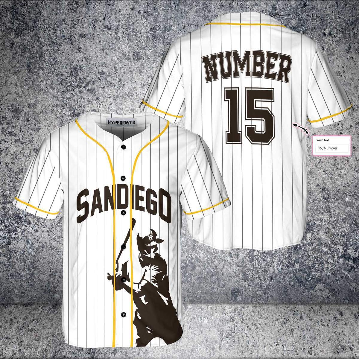 Custom number San Diego Baseball Jersey Shirt