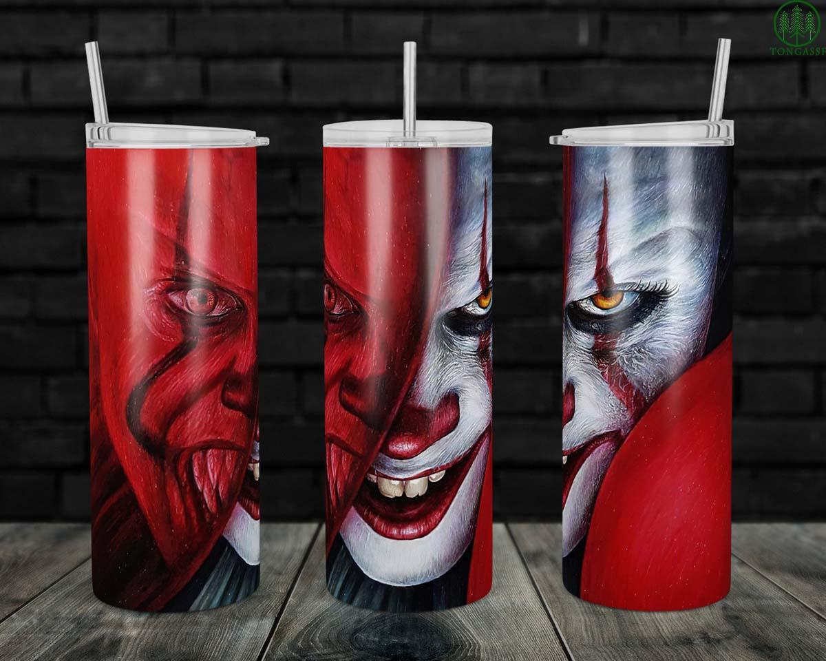 Scary Clown Horror Skinny tumbler
