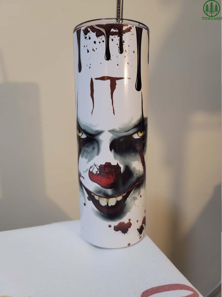 Scary Clown halloween skinny tumbler