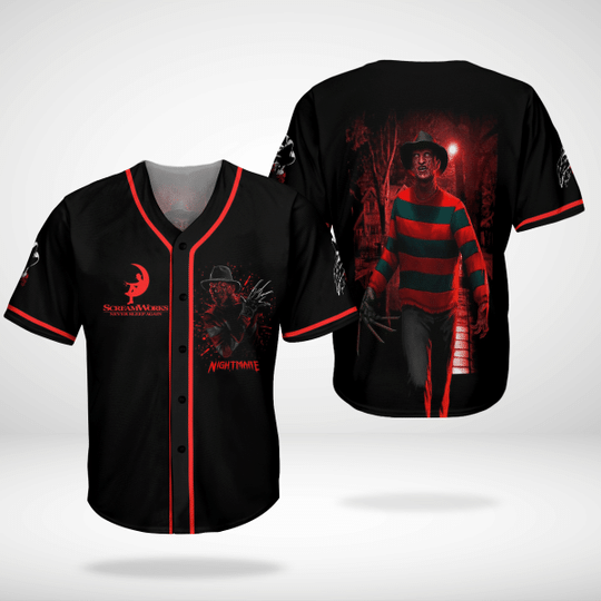 Screamworks never sleep again nightmare baseball jersey shirts