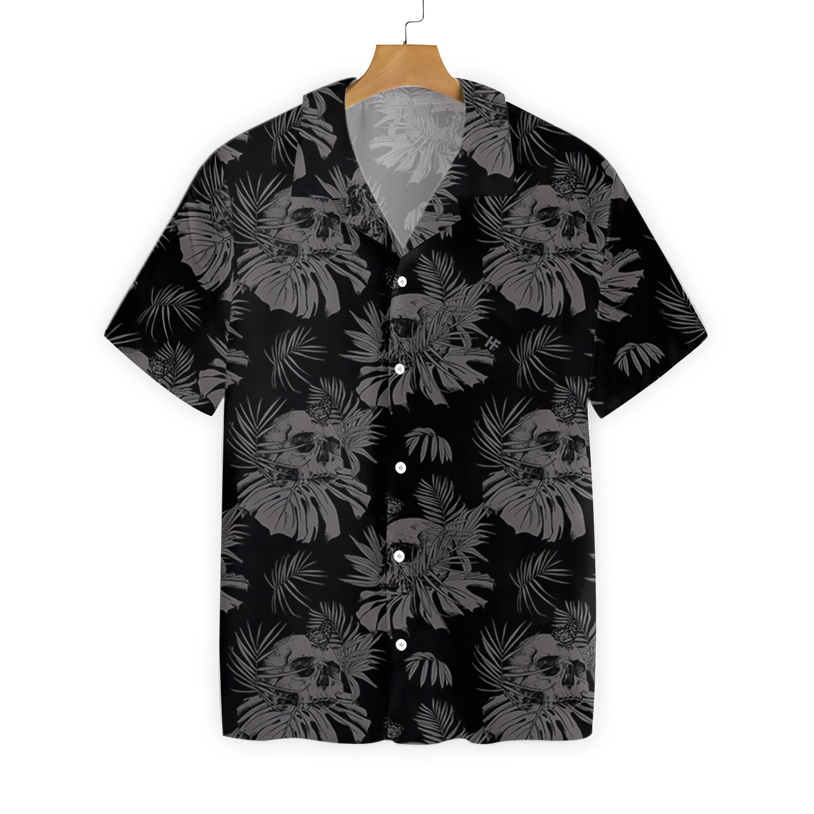 Seamless Gothic Skull With Butterfly Goth Hawaiian Shirt