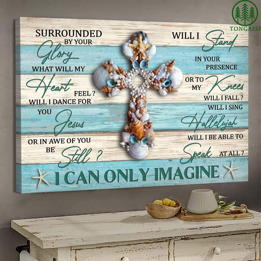 Seashell cross I can only Imagine Jesus God canvas