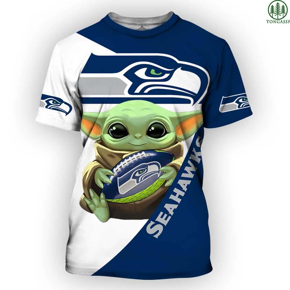 Seattle Seahawks NFL Yoda Baby Yoda Star Wars 3D Shirt